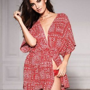 Victoria's Secret Sexy Heart Print Red Kimono Robe